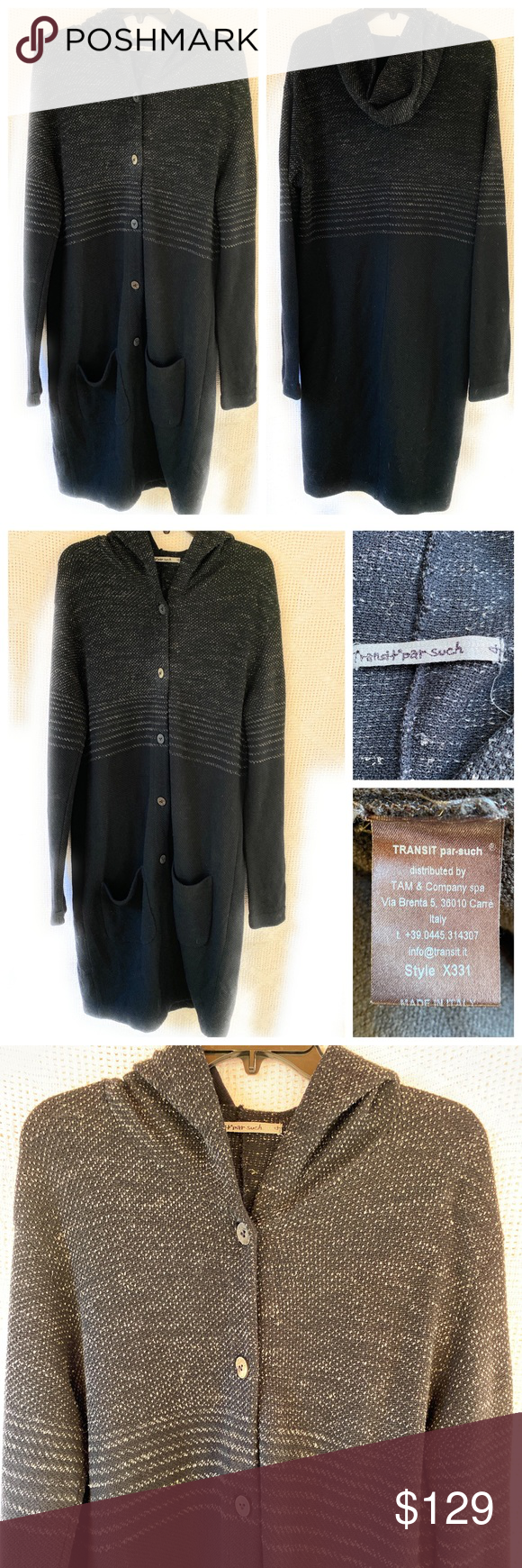 TRANSIT par such Maxi Cardigan Sweater With Hood (With