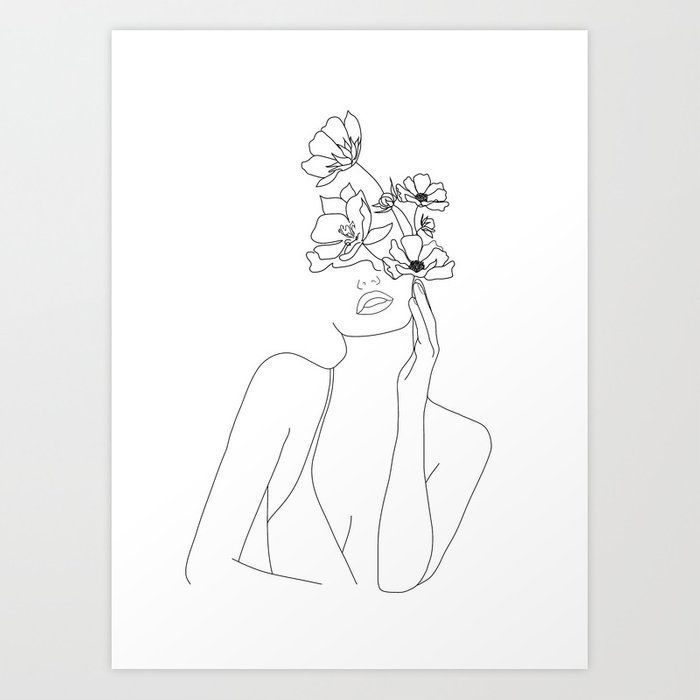 Photo of Minimal Line Art Woman with Flowers Art Print by nadja1 – For your own … -…