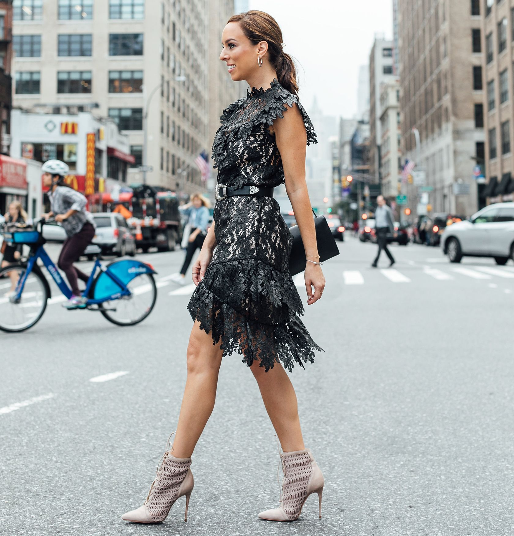 f311db4e1499 Sydne Style wears black lace dress for fall outfit ideas  black  lace   dresses  booties  sydnesummer