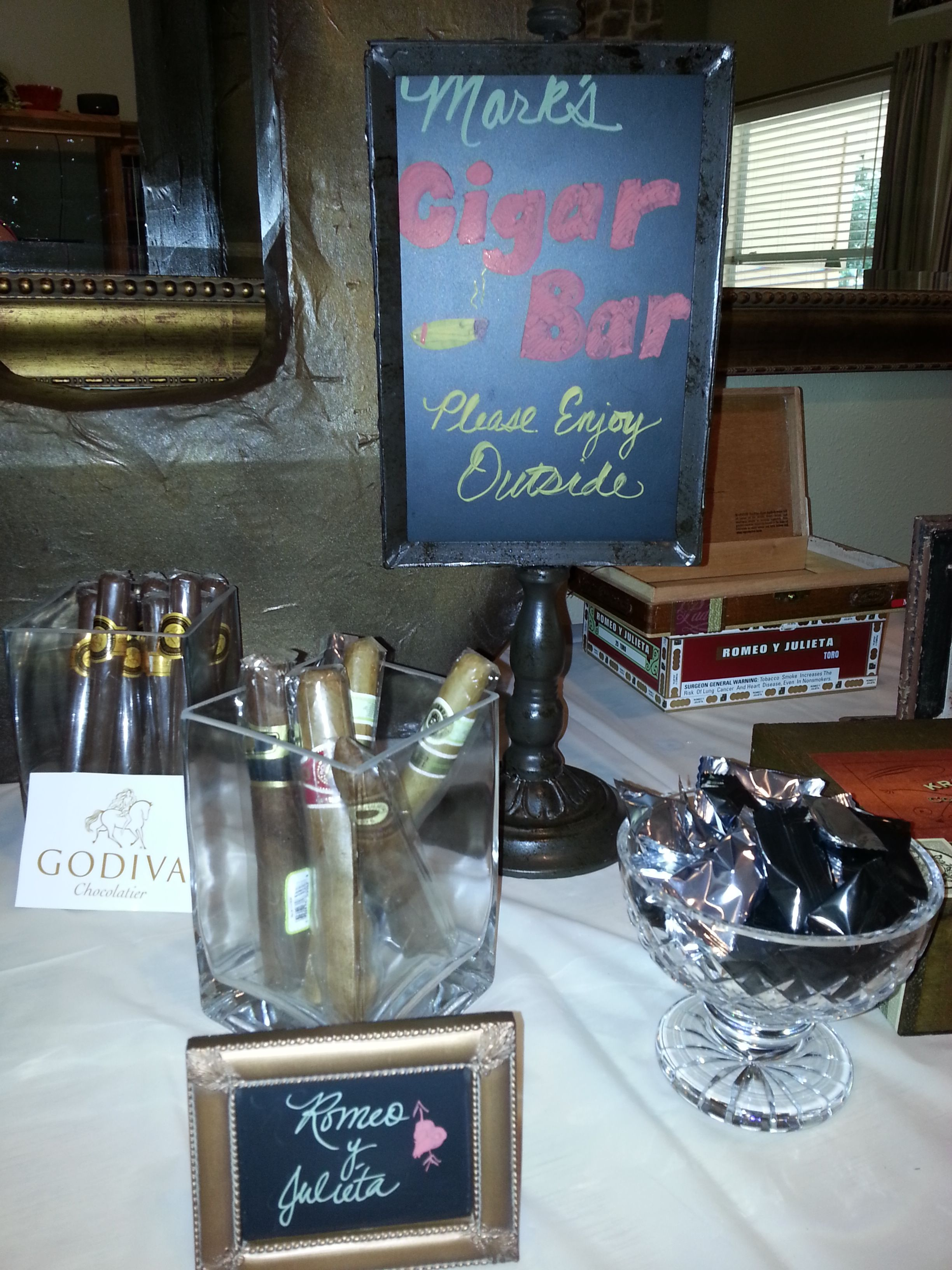 Cigar Party Table - 2 types of real cigars and some Godiva ...