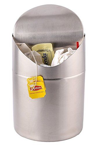 Estilo Mini Countertop Trash Can Brushed Stainless Steel Swing