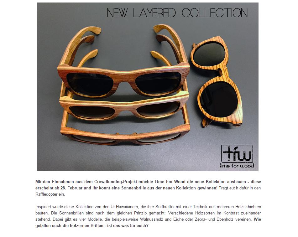 Gewinnt eine Holz-Sonnenbrille aus der neuen Kollektion von Time for Wood! Beiandysparkles könnt ihr noch bis 27. Februar 2015eine Holz-Sonnenbrille aus der neuen...