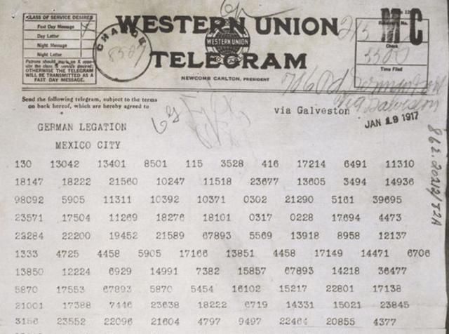 World War I: Zimmerman Telegram, January 1917 German telegram that proposed an alliance between Germany and Mexico and was used by the United States as a reason to enter the war. We will use this as a primary document in our lessons on the course of WWI