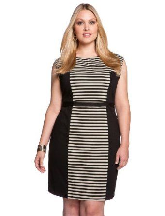 eloquii Stripe Colorblock Dress Women's Plus Size