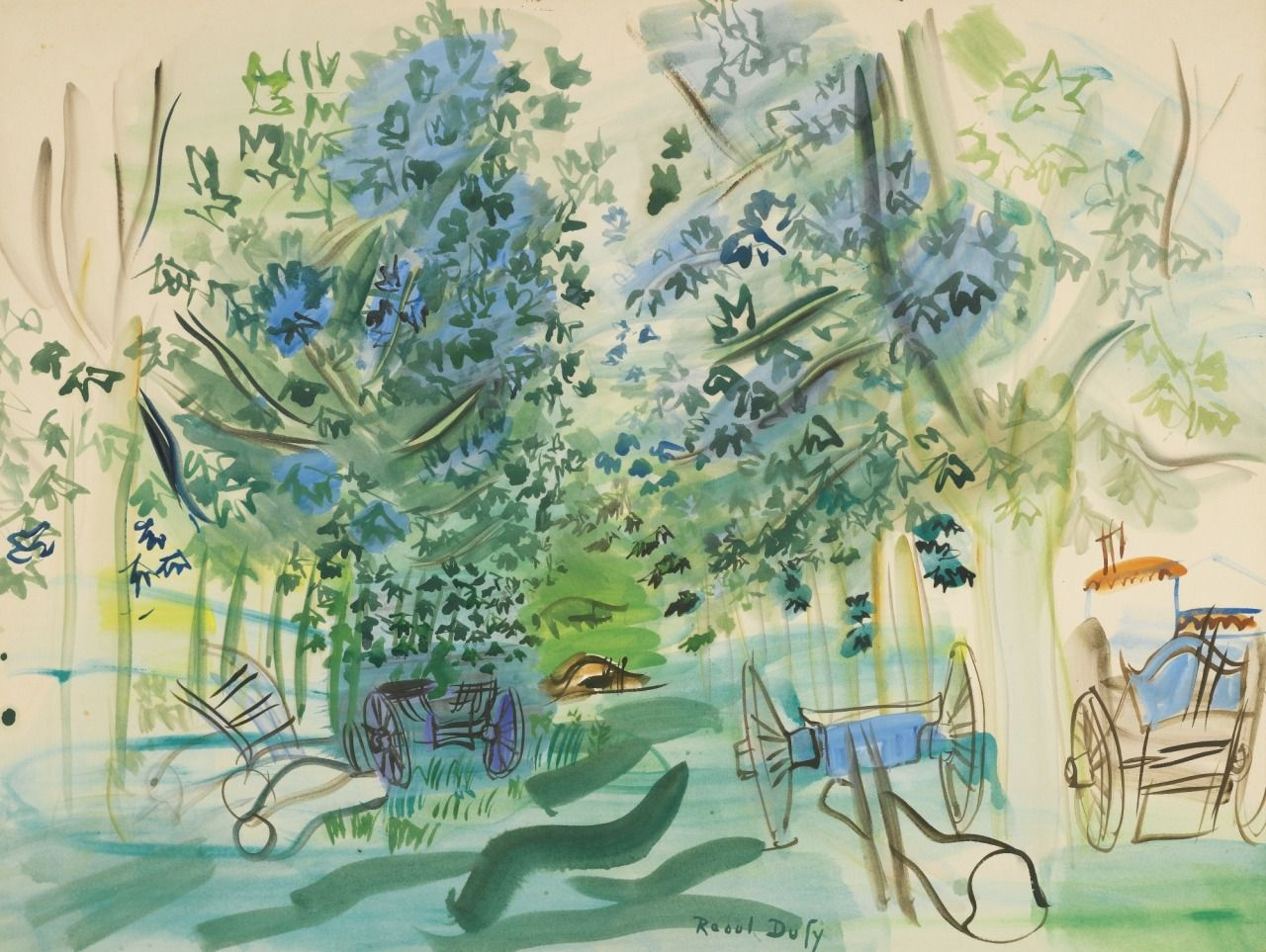 Raoul Dufy (French, 1877-1953), Les charettes à Montsaunès [Wheelbarrows at Montsaunès], 1943. Watercolour on paper.