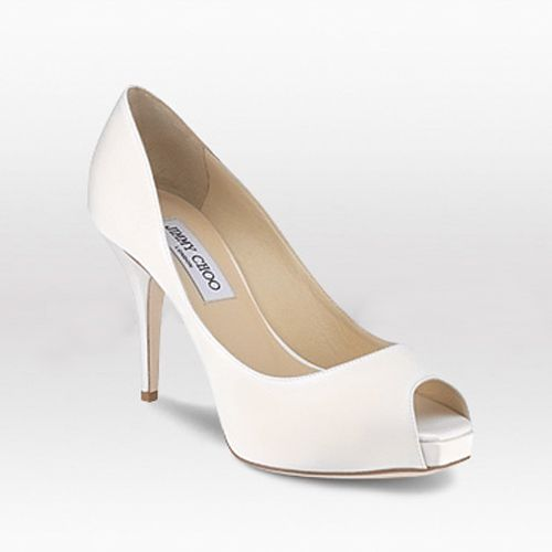 satin bridal shoes by Jimmy Choo