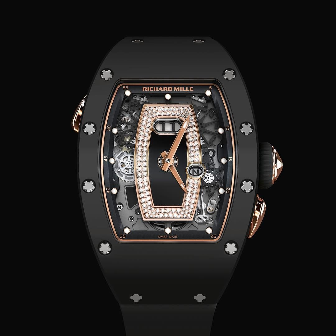 46bcf61578d Richard Mille  NEW  RM 037 Ladies Auto Black Ceramic Rose Gold Black Lip  Watch OUR PRICE 售價  HK 838