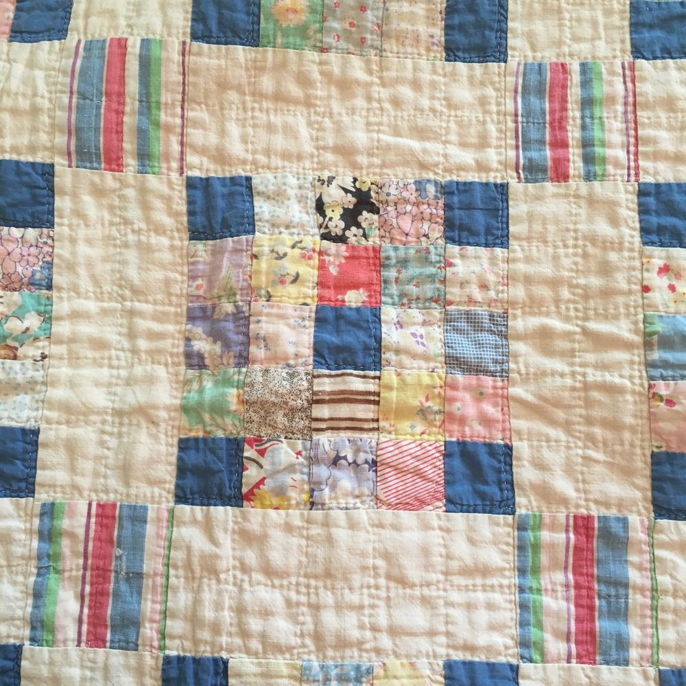 Rare Antique Vintage Cotton Patch 30 40s Feed Sack Quilt Baby Crib Quilt 53 X43 Antique Quilts Patterns Vintage Quilts Antique Quilts