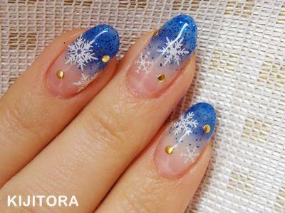 雪の結晶ネイル青バージョン , キジトラ
