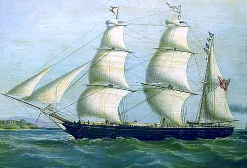 """""""The barque """"Queen Bee"""", 1855, oil on canvas, NMM"""