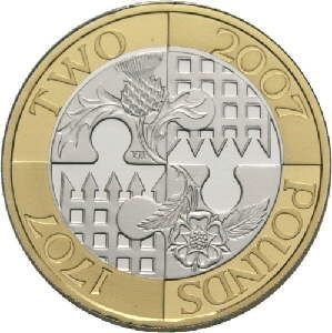 two pounds England+Scotland 2007 - 300th anniversary of the Union