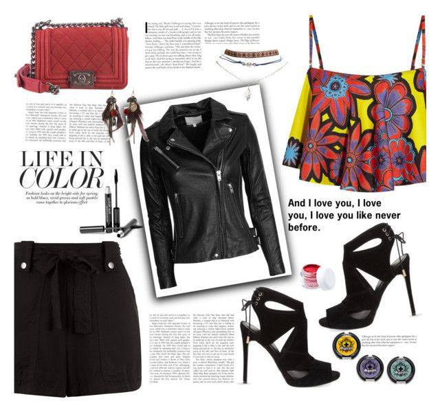 """Life in color"" by cassy-style ❤ liked on Polyvore featuring House of Holland, New Look, Wet Seal, IRO, KG Kurt Geiger, Chanel, Trish McEvoy, AllSaints and Sugarpill"