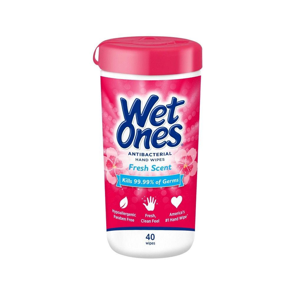 Wet Ones Antibacterial Hand Wipes Canister Fresh Scent 40ct
