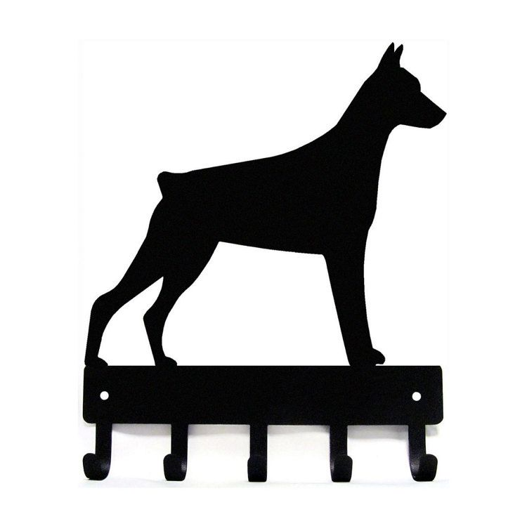 "Cropped Dog Leash Hanger Metal Wall Key Rack 5 Hooks Lg 9/"" Doberman Pinscher"