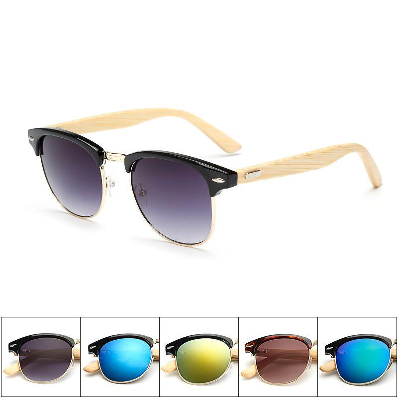 08242f917ff6 Half Metal Frame Retro Sunglasses Girls Wooden Sunglasses Leg Spectacles  Bamboo Sunglasses Eyeglasses Unisex Goggle KP1505