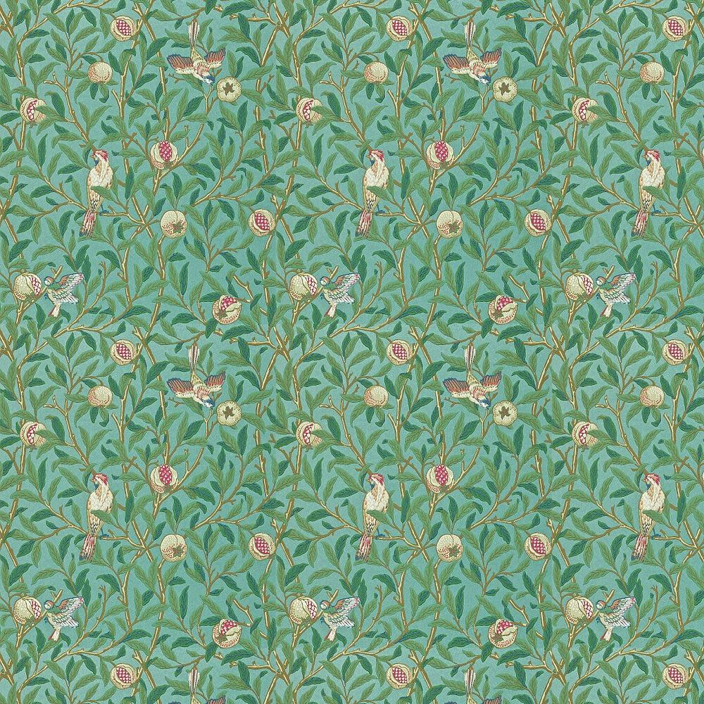 Bird & Pomegranate by Morris Green / Metallic Teal