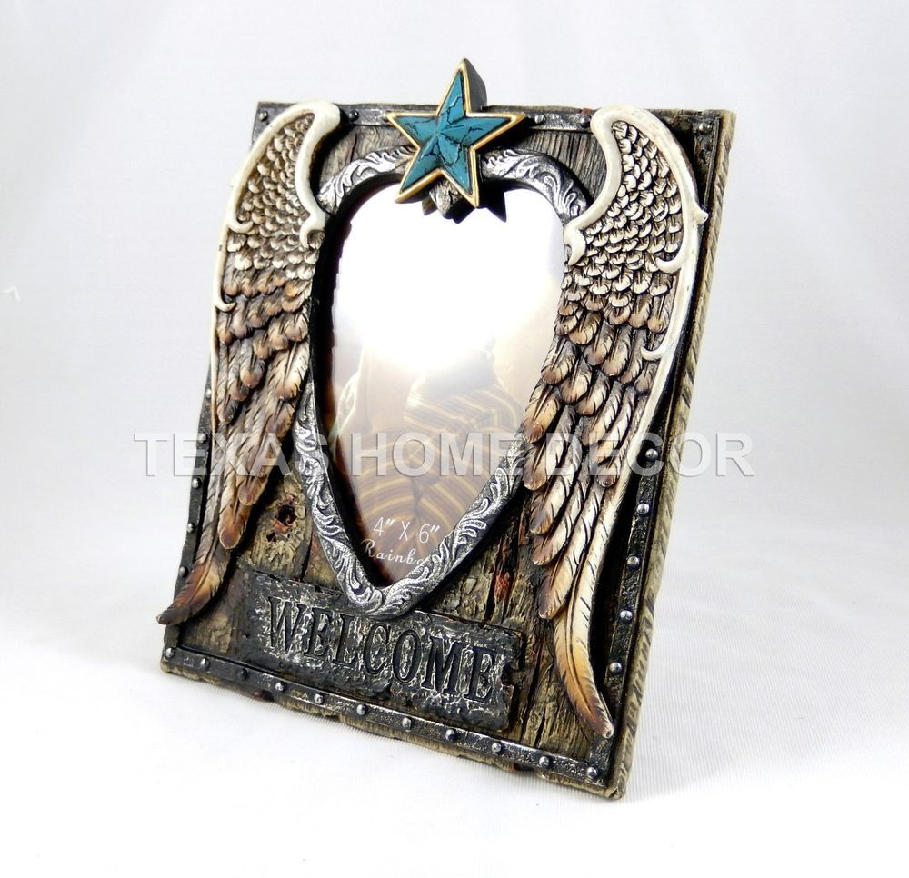 Angel wings turquoise star picture frame heart rustic western wood angel wings turquoise star picture frame heart rustic western wood look southwestern jeuxipadfo Image collections