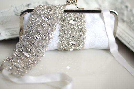 Wedding Garter Clutch Set Rhinestone Beaded