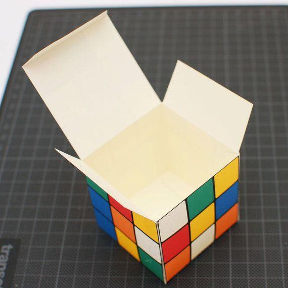 Rubik S Cube Printable Diy Gift Box Favor Box Cupcake Box Small