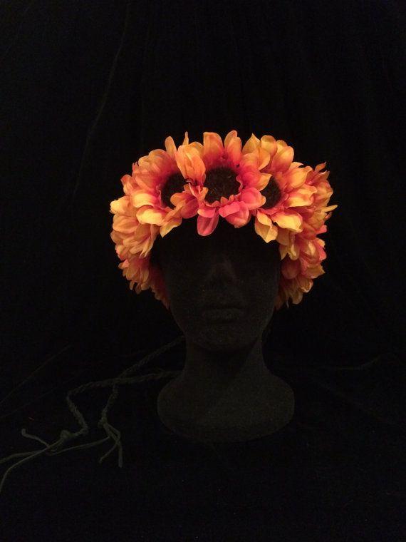60's 70's Hippie Daisy Chain Sunflower by EmpireCoutureCostume