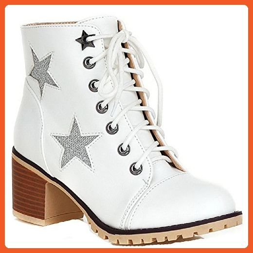 Women's Assorted Color PU Kitten-Heels Lace-up Round Closed Toe Boots