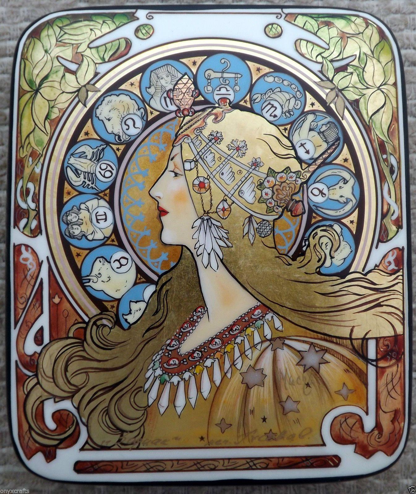 Alphonse Mucha. Zodiac. Russian Lacquer Box In 2019 Art