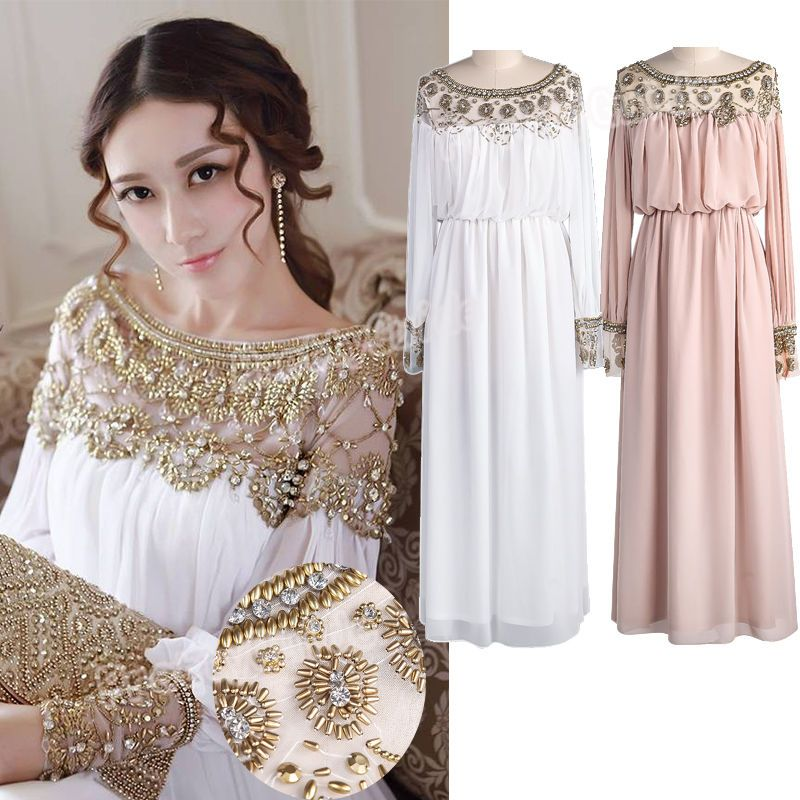 Maxi Ancient Greek Style Dress With Deep Neckline And: Goddess Beads Embellished Pleated Chiffon Long Sleeve Maxi