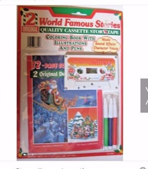 vintage 2 original world famous christmas stories cassette tape book pens