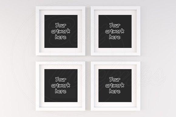 Set of 4 white square frame mockups | Mock up