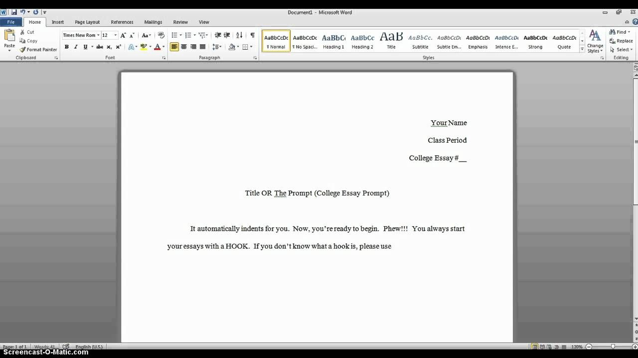 heading for college essay