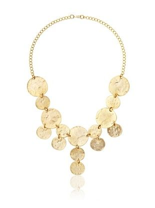 Kenneth Jay Lane Satin Gold Coin Drop Necklace