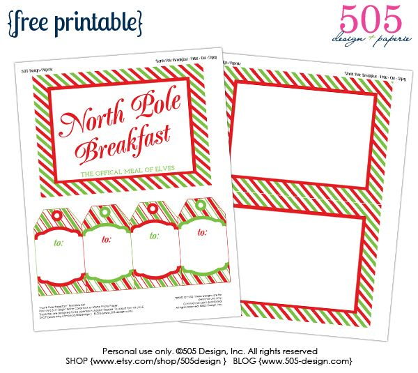 Elf on the Shelf Breakfast Printables #northpolebreakfast