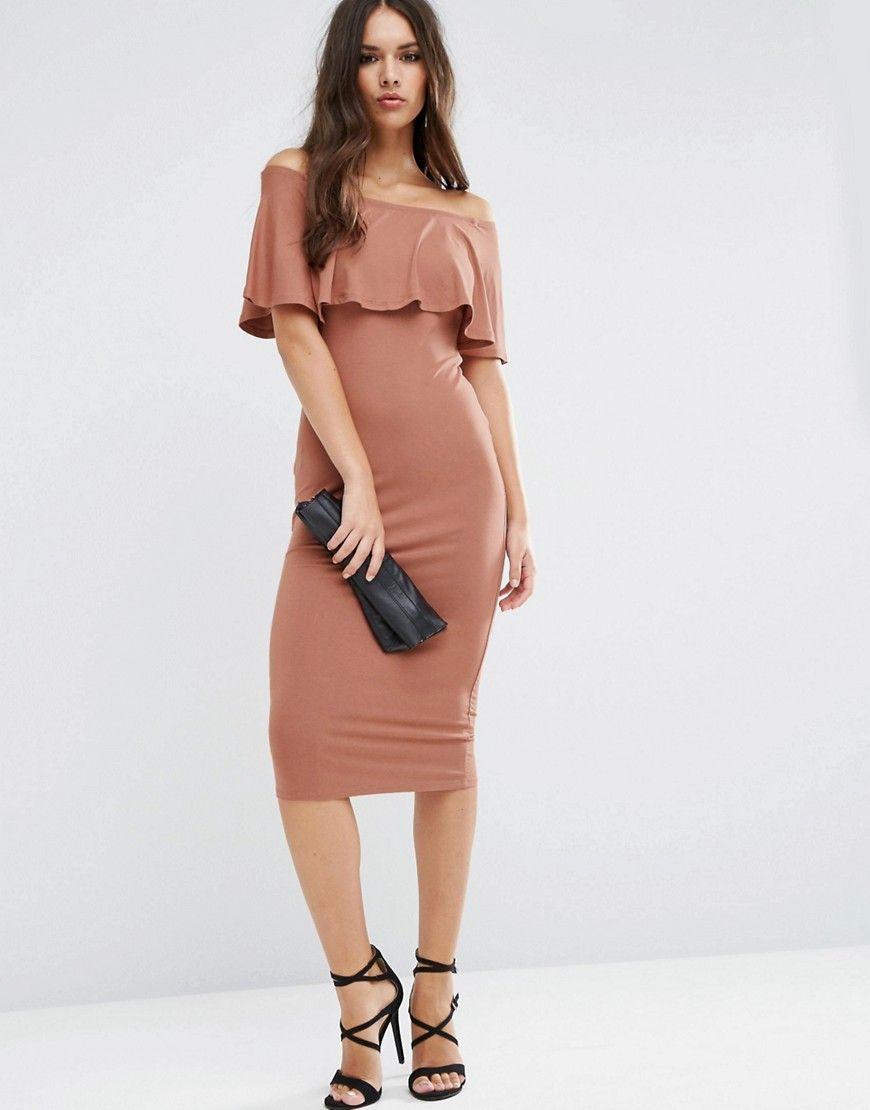 Image 4 of ASOS Ruffle Off Shoulder Bardot Pencil Midi Dress | In ...