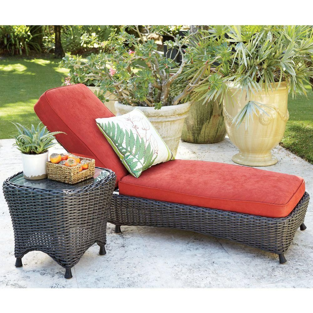 Martha Stewart Living Lake Adela Spice Patio Chaise Lounge With Red Cushions