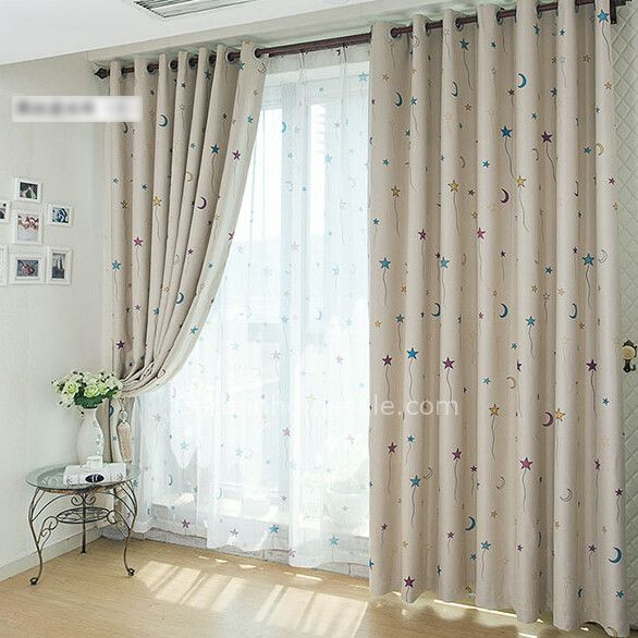 Adorable Nursery Kids Bedroom Blackout and Thermal star curtains