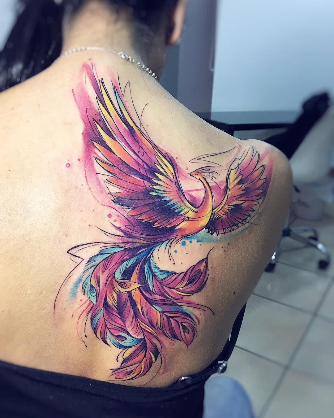 Adrianbascur Tatouage Phoenix Tattoo Tatuaje Colors Aquarelle Watercolor Acuarela Fenix Bird A Tatuaje Fénix Acuarela Ave Fenix Tatuaje Ave Fenix
