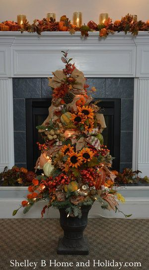 Decorated Fall Tree Ornaments & Tree Kit SBO #sunflowerchristmastree