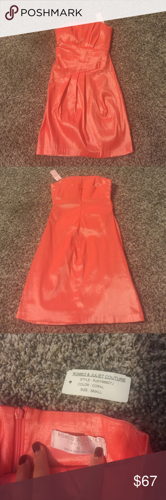 "Romeo & Juliet Couture coral dress Romeo & Juliet Couture strapless cocktail party dress. Never worn. Has a light lining in the chest area. I would say the color is coral with a shimmer in it.  Length from the middle of the top to the middle of the bottom is around 27"". There is 5% spandex which allows the dress to stretch so you can still breathe while sitting 👍🏻extremely comfortable Dresses Strapless"