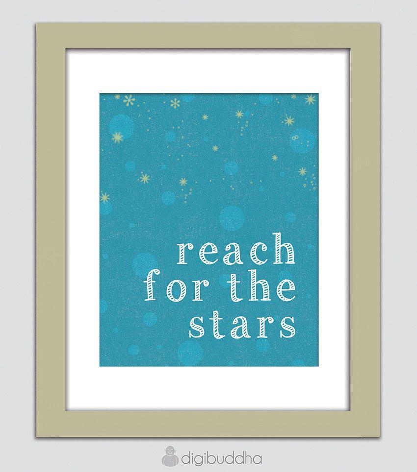 Nursery art print reach for the stars blue white yellow night sky