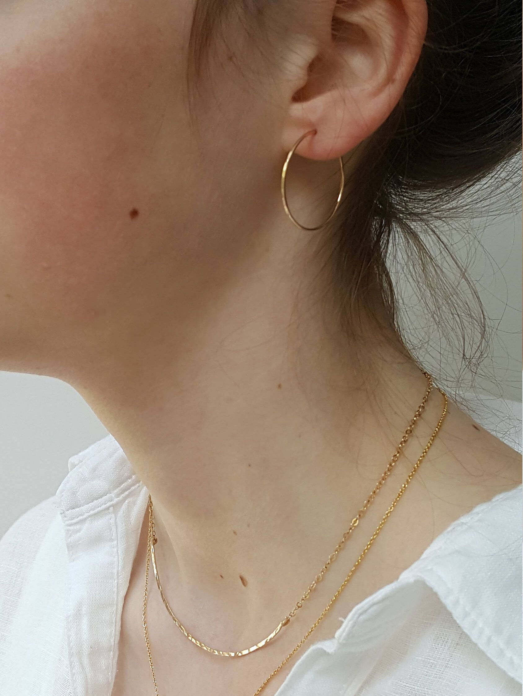 Gold Hoop Earrings Small 1 5 Inch Hammered Thin