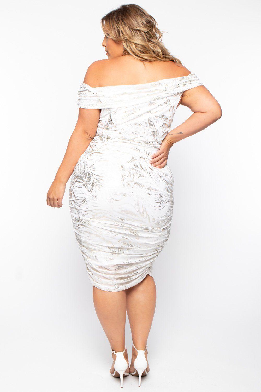 Plus Size Metallic Sheer Ruched Dress White Curvy Sense