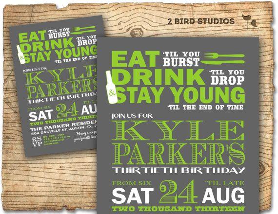 Birthday Party Invitation Invite 30th Birthday Male Diy 40th