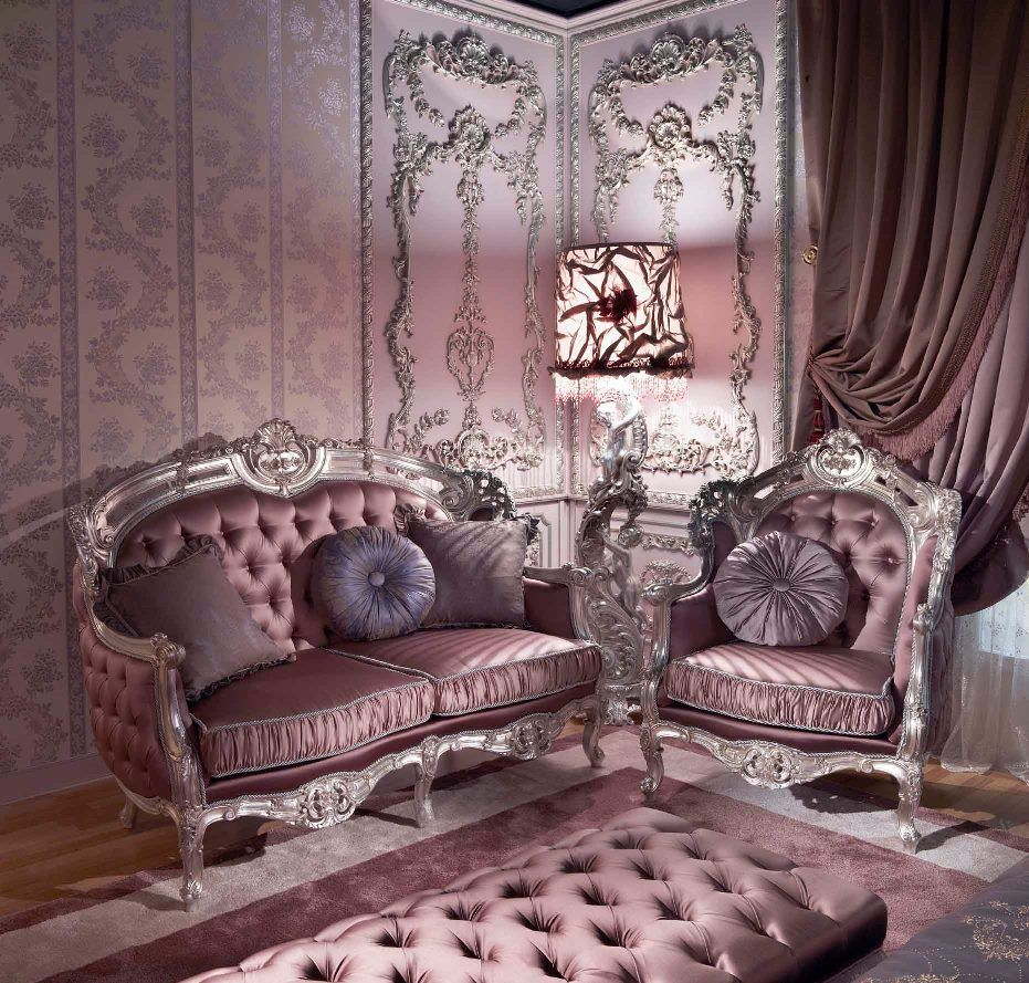Carving Silver Italian Style Bedroom Top and Best