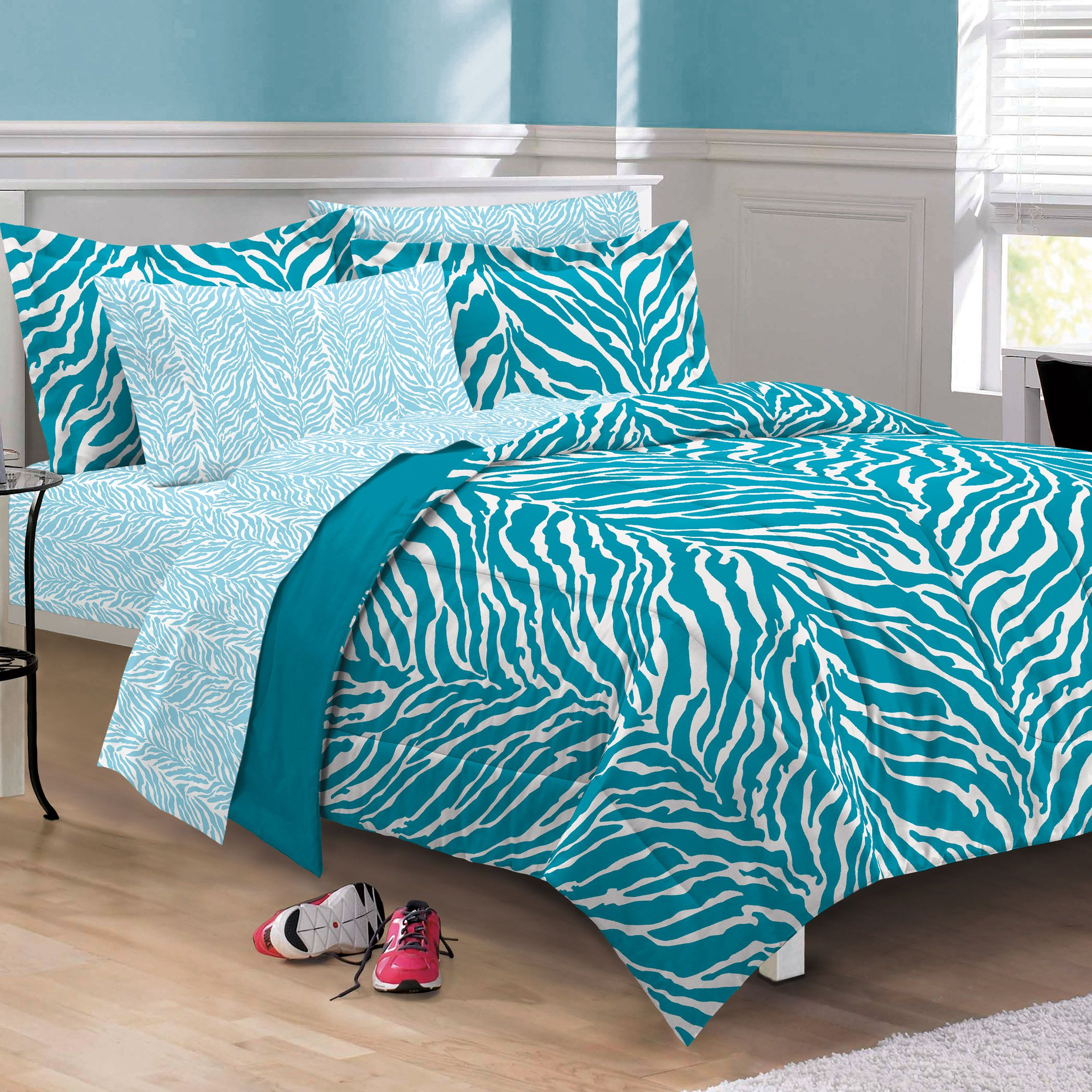Cheap zebra print bedroom sets - Aqua Blue Zebra Bedding Twin Xl Full Queen Teen Girl Comforter Set Bed In A Bag