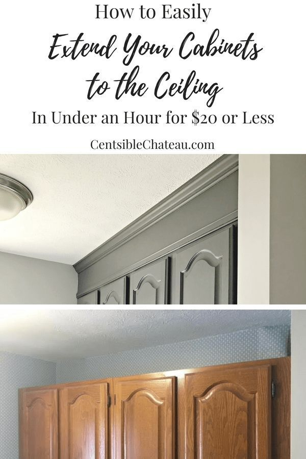 How To Extend Your Cabinets To The Ceiling In Under An Hour For 20 Or Less Kitchen Cabinets Makeover Diy Kitchen Cabinets Laundry Room Cabinets