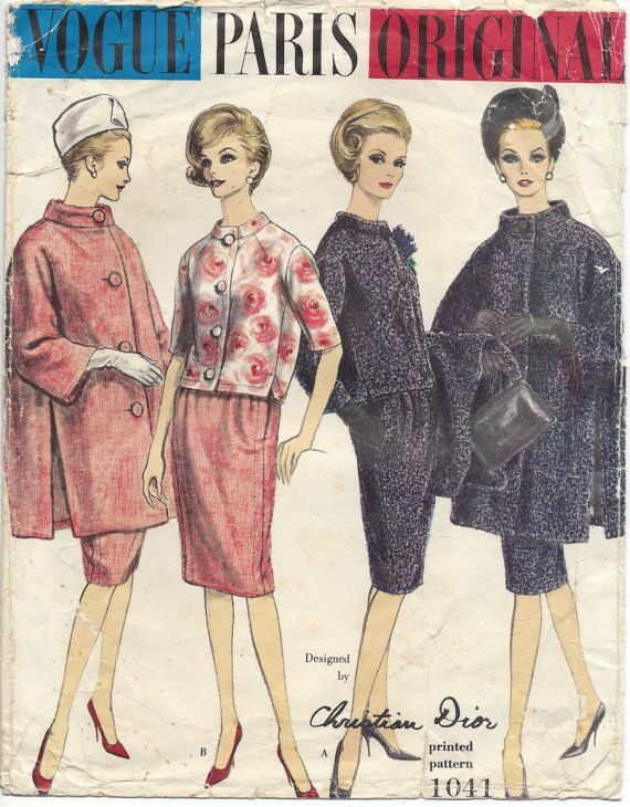 1960 Vintage VOGUE Sewing Pattern B34 Suit Coat Jacket Skirt (1380 ...