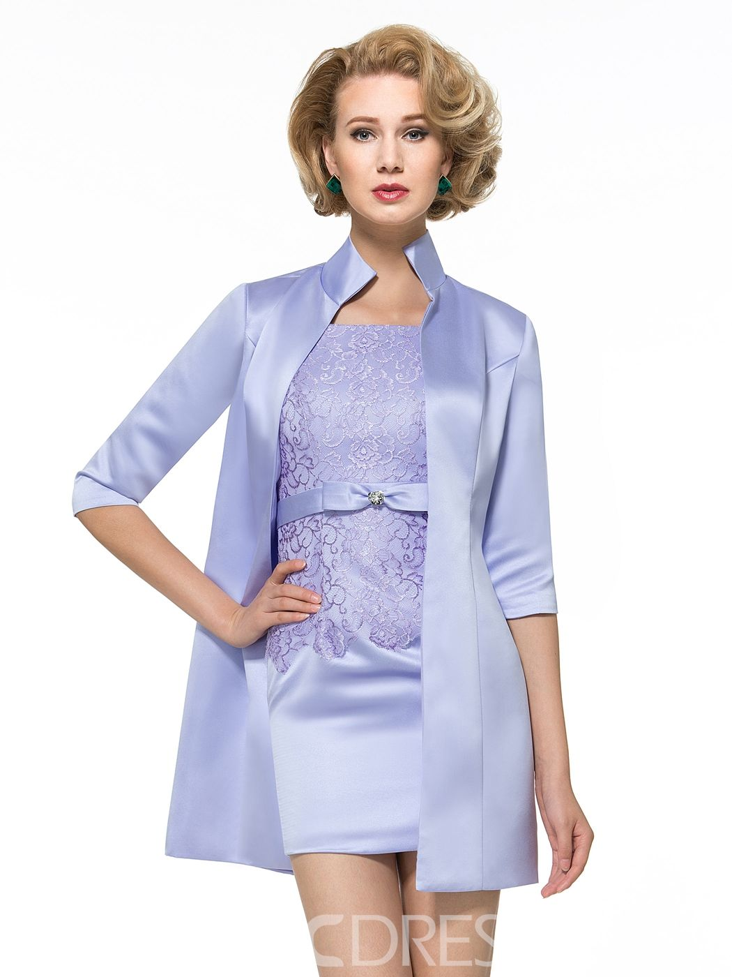 Beach wedding dresses guest  Charming Straps Sheath Short Mother of the Bride Dress with Jacket