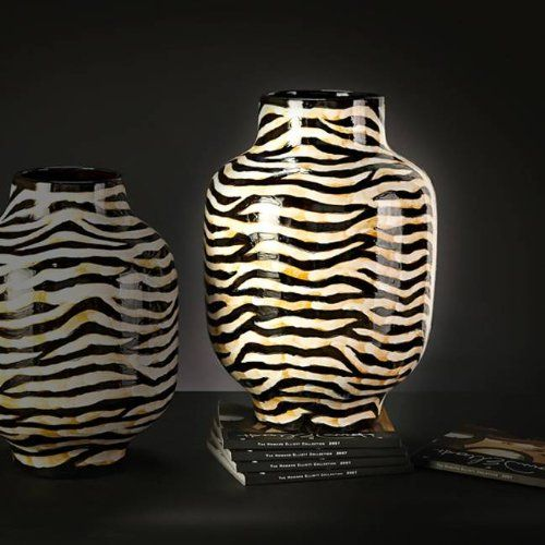 Howard Elliott Collection 1859 Zebra Print Vase Large Blackcream