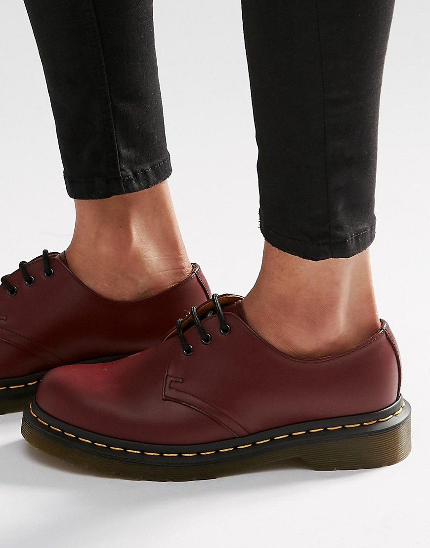 a986a062c41 Dr Martens 1461 3-Eye Gibson Flat Shoes - Red | fashion in 2019 | Dr ...