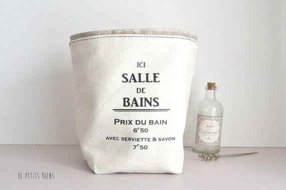 Pochon salle de bain - vintage - inscription - coton lin enduit A - enduit salle de bain